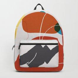 Shape & Hue Series No. 2 – Yellow, Orange & Blue Modern Abstract Backpack