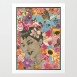 Vintage woman with sunflowers and butterflies Art Print
