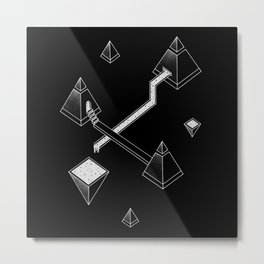 Black Space Pyramids Metal Print