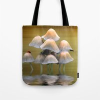 mushrooms Tote Bags featuring Mushrooms by Shalisa Photography