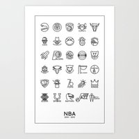 nba Art Prints featuring NBA Team logos (black) by Will Wild