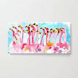 Welcome to Miami - Flamingos Illustration Metal Print