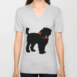 Black Labradoodle dog Unisex V-Neck