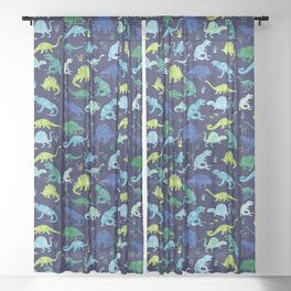 Watercolor Dinosaur Blue Green Dino Pattern Sheer Curtain