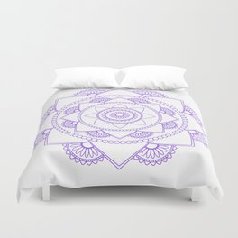 Mandala 01 - Purple on White Duvet Cover