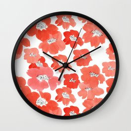 Camellia Flowers in Red Wall Clock
