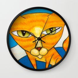 Cute Orange Kitty Wall Clock