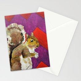 Orange and Purple Chevron Squirrel by Mike Kraus - art animals wildlife silly fun children kids fun Stationery Cards