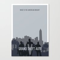grand theft auto Canvas Prints featuring Grand Theft Auto V Poster by Carys Jordan