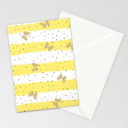 Butterfly Christmas pattern on Gold Yellow and White Stripes Stationery Cards