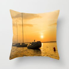 Ships in the evening sun Throw Pillow