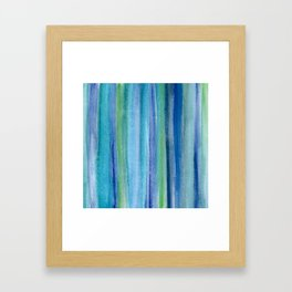 Blue and Green Watercolor Stripes - Underwater Reeds / Abstract Framed Art Print