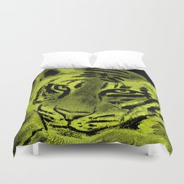 Tiger with Lime Background Duvet Cover