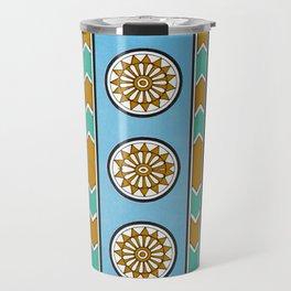 Vintage Assyrian Geometric Design Pattern in Blue, Teal and Mustard Travel Mug