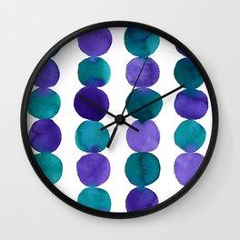 Watercolor abstract circles purple violet viridian Wall Clock