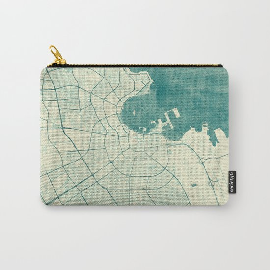 Doha Map Blue Vintage Carry-All Pouch