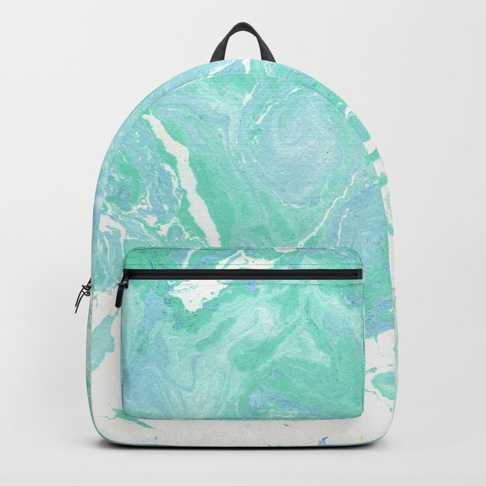 Marble texture background, white blue green marble pattern Backpack