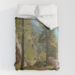 Green forest in the mountains Comforters