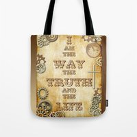 bible verse Tote Bags featuring Bible Verse Steampunk Way Truth Life by Whimsy and Nonsense