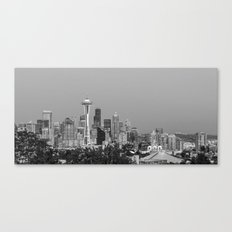 Black and White Seattle cityscape Canvas Print