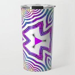 Pink Triangles and Circles Kaleidoscope Travel Mug