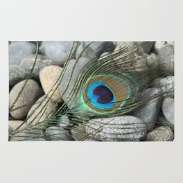 Peacock Feather On Rocks Rug