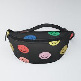 Smiley faces black happy simple rainbow colors pattern smile face kids nursery boys girls decor Fanny Pack