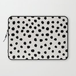 Preppy brushstroke free polka dots black and white spots dots dalmation animal spots design minimal Laptop Sleeve