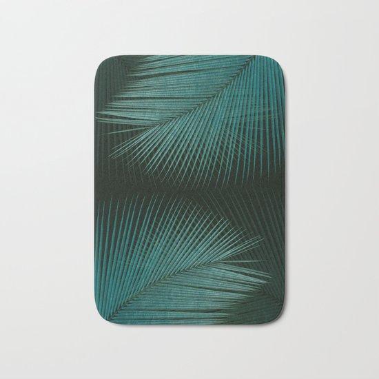 Palm leaf synchronicity - twilight teal Bath Mat