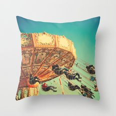 Vintage Chain Swing Ride on Blue Sky  Throw Pillow