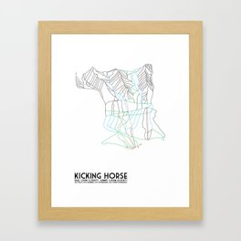 Kicking Horse, BC, Canada - Minimalist Trail Map Framed Art Print