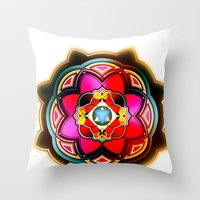 sacred geometry Throw Pillows featuring Sacred by Sircasm