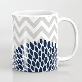 Chevron Floral Modern Navy and Grey Coffee Mug