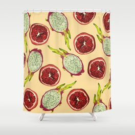 Pomegranate - Dragon Fruit Pattern yellow Shower Curtain
