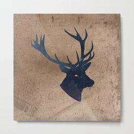 Grunge Deer Stag Simple Illustration for Men Metal Print