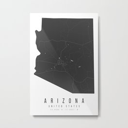 Arizona Mono Black and White Modern Minimal Street Map Metal Print