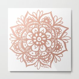 Rose Gold Mandala Metal Print