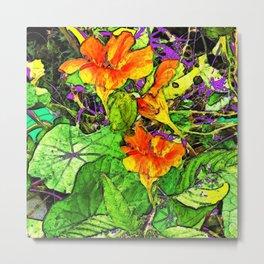 Nasturtiums Garden Abstract Art Metal Print