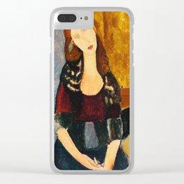 """Amedeo Modigliani """"Jeanne Hebuterne, seated"""" Clear iPhone Case"""