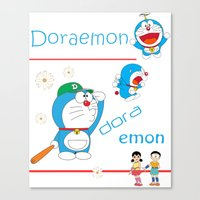 doraemon Canvas Prints featuring Doraemon Charming by Timeless-Id