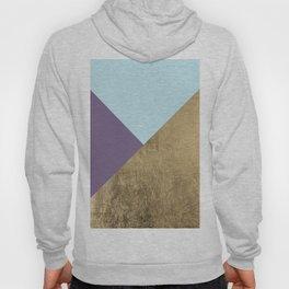 Elegant geometrical purple teal faux gold color block Hoody