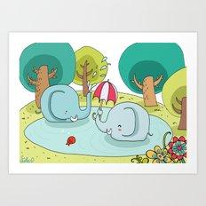 elephants bath Art Print