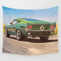 mustang Wall Tapestries featuring Bullitt Mustang painting by Leave Your Mark