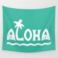 aloha Wall Tapestries featuring Aloha! by Dylan Morang