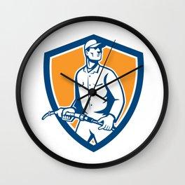 Gas Jockey Attendant Fuel Pump Nozzle Shield Wall Clock
