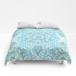 Turquoise Blue, Teal & White Protea Doodle Pattern Comforters