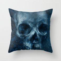 Blue Skull Waves Throw Pillow