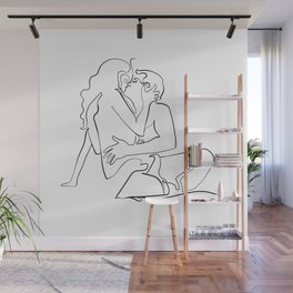 The kiss, continuous line Wall Mural