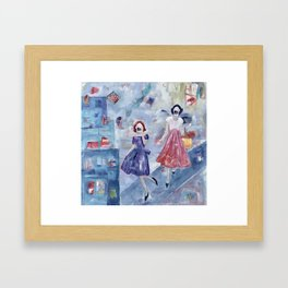 Social Distancing American Style - With Masks Framed Art Print