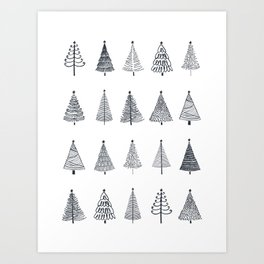 Rustic Christmas Trees Black and White Art Print